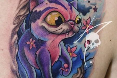 cat new school tattoo color www artetattoo com br