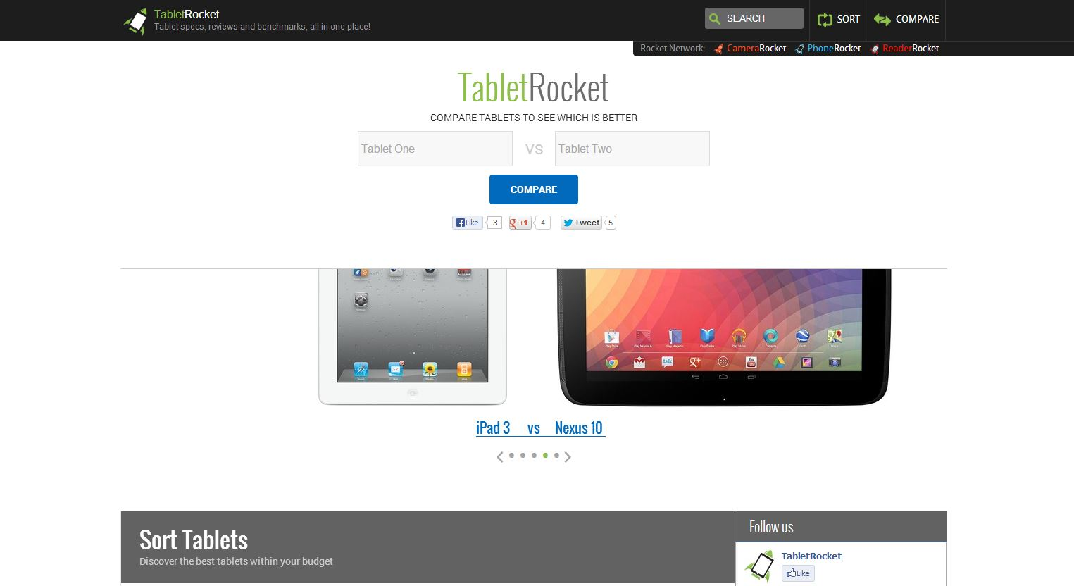 Easily Choose And Compare Tablets Side-By-Side Virtually With TabletRocket