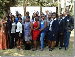 Dr Margaret Mkhosi, TIA spokesperson for the YTIF campaign (front 3rd from right) with the group of young innovators at the launch today