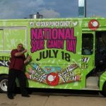 """Guru of Geek"" Marlo Anderson on the streets of Chicago for National Sour Candy Day."