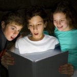 Kids reading The Time Finder