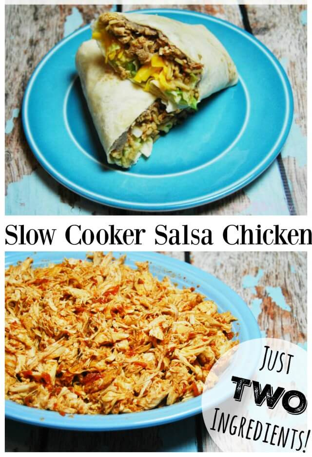 Easy Slow Cooker Salsa #Chicken - just two ingredients!  #food #foodie #yum