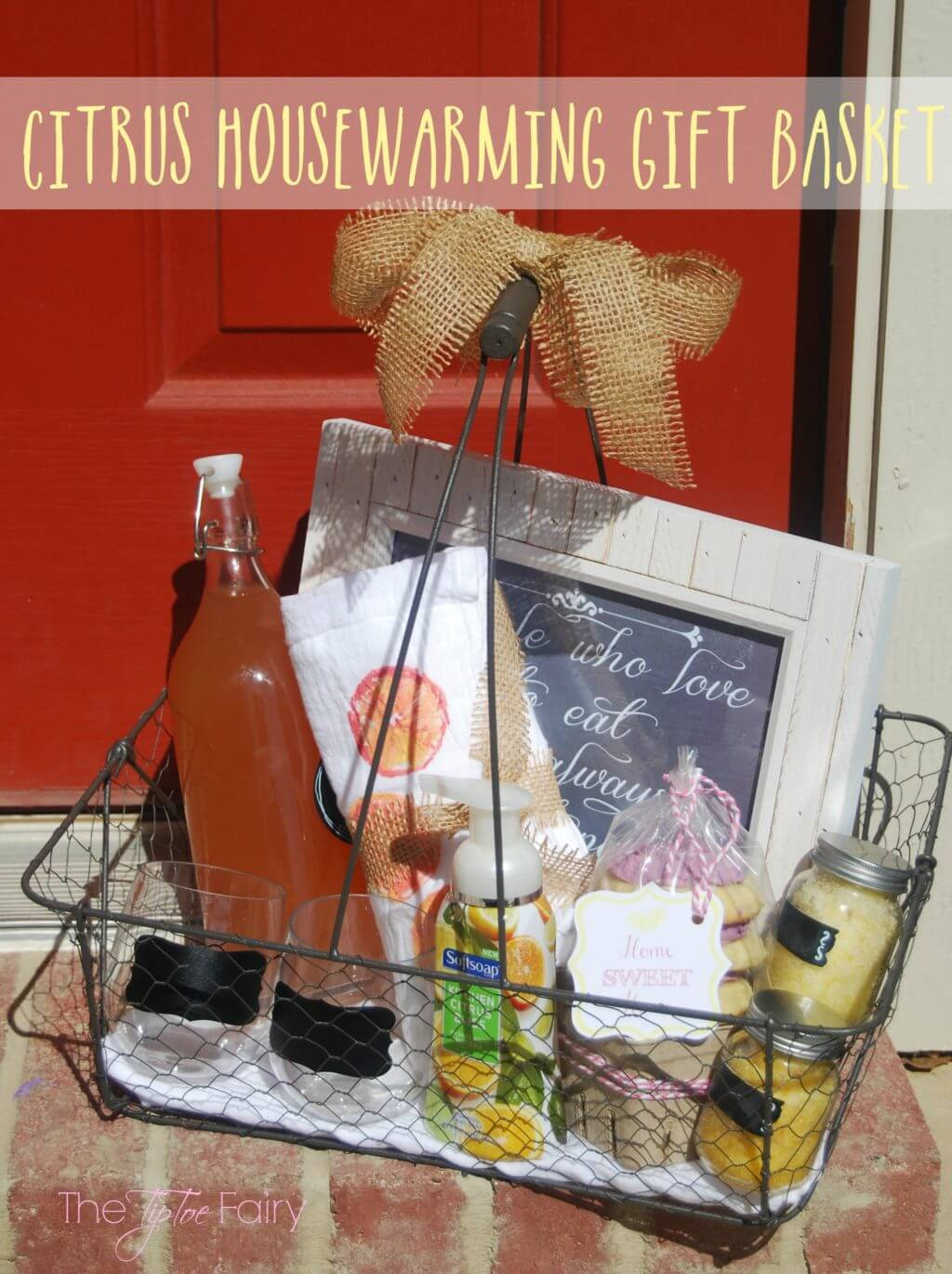 Make a Citrus Themed Housewarming Gift Basket with sweets, treats, and lemon stamped towels!   The TipToe Fairy #FoamSensations #ad