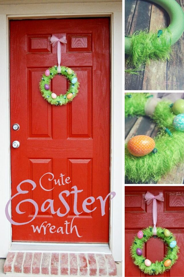 Make an Easter Egg Wreath and upcycle some old Christmas Lights