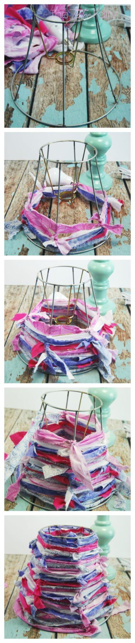 Make a Strippy Shabby Chic Lamp Shade with Crepe Paper Roses - this is an easy tutorial anyone can make.  Try it with the new GE Align™ PM LED Light Bulb | The TipToe Fairy #SleepAligned #Ad