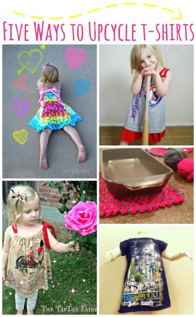 Got too many t-shirts? Check out these tutorials for FIVE Ways to Upcycle a T-Shirt! | The TipToe Fairy
