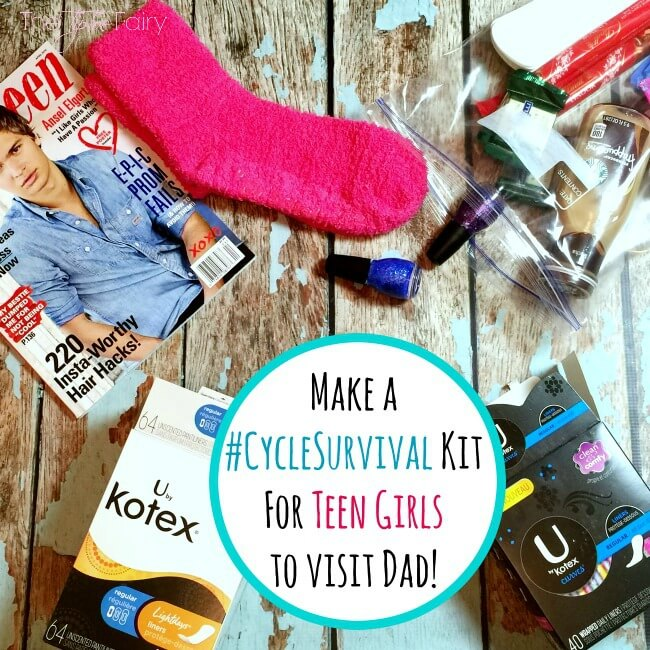 Does your daughter visit Dad on the weekends? Then create an easy DIY Period Kit she can take with her, so she never feels embarrassed to ask! #ad #CycleSurvival   The TipToe Fairy