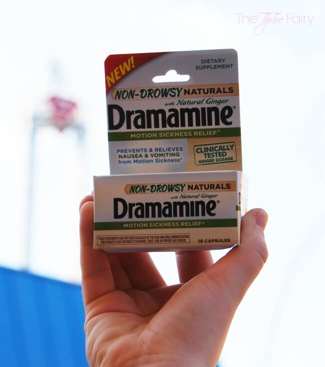 Non-Drowsy Naturals Dramamine - My Ticket to Thrill RIdes!  It's a non drowsy solution for motion sickness! #ad #Dramamine #CG   The TipToe Fairy