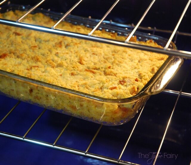 Cornbread Dressing Casserole -- Love Thanksgiving Food? Then you'll love this easy casserole dish, perfect for weeknight dinner! #ad   The TipToe Fairy