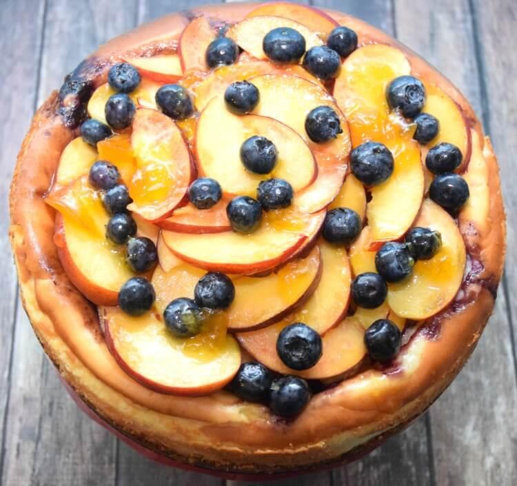 Amazing Blueberry Peach Cheesecake w/walnut crust @cawalnuts #ad #food #foodie