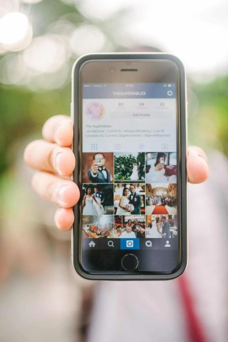 The photos are carefully curated on the couple's wedding Instagram account for easy public viewing.