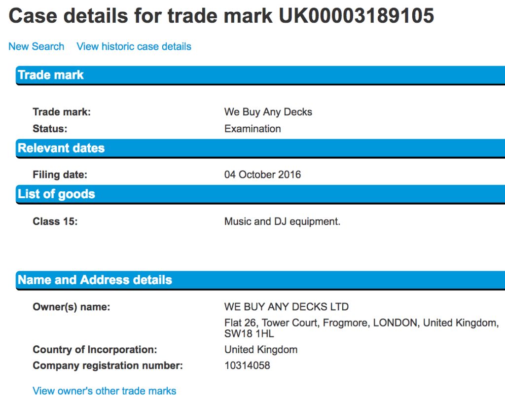Get your old Technics down from the attic WeBuyAnyDecks registered in wrong trademark class though