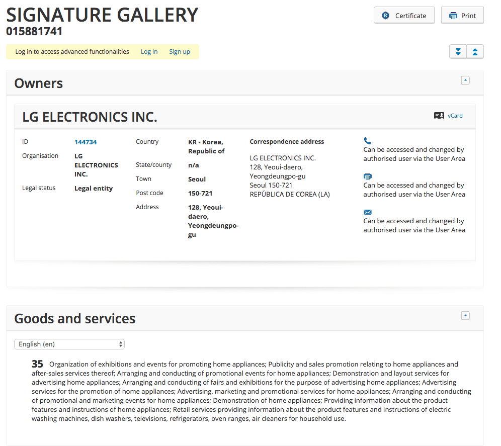 LG have applied for a Trademark for SignatureGallery <a href=
