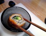 California Roll dipped in Soy