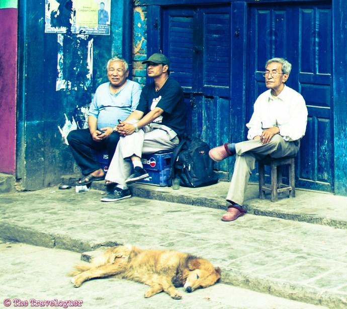 Kathmandu street photography - Men chill in Kathmandu, Nepal, thetraveloguer travel blog