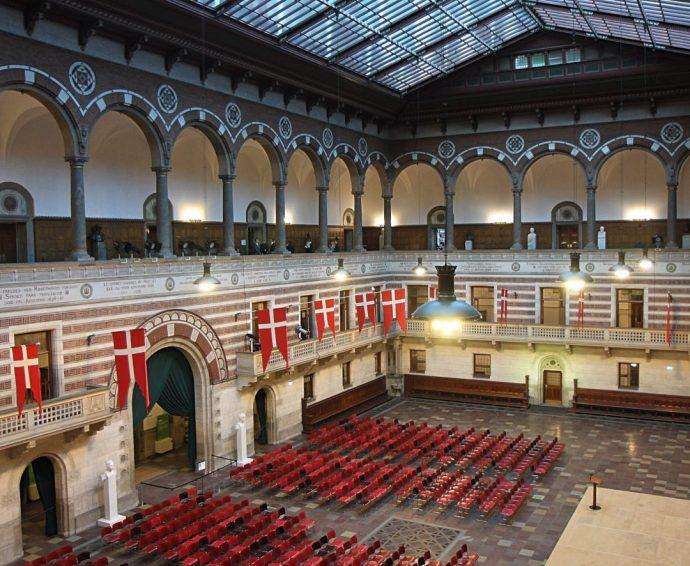 Copenhagen city hall grand hall Hans Christian Andersen Copenhagen fairytale - city hall