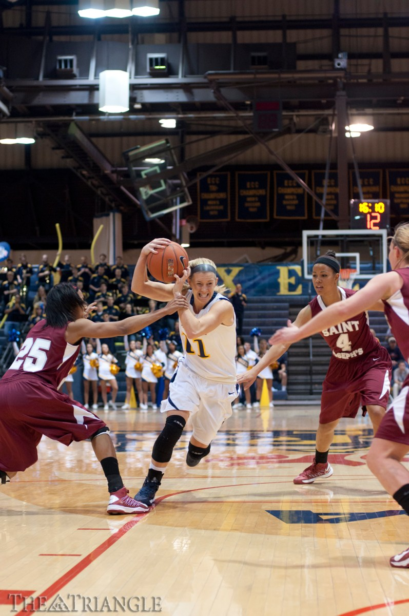 Credit: Ken Chaney | Senior point guard Hollie Mershon scored 19 points and pulled down 15 rebounds against the University of South Carolina Nov. 28 to secure her first career double-double. Mershon has led Drexel in scoring in five of the team's first six games and is averaging 19 points per game so far this season.