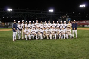The 2012-13 Drexel baseball team poses at Campbell's Field. The stadium, which is located in Camden, N.J., is home to the Camden Riversharks of the Atlantic League of professional Baseball.