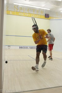 Senior Justin Singh winds up for a shot against junior Ryan Todd of Cornell University at the Kline & Specter Squash Center in Philadelphia Nov. 23.
