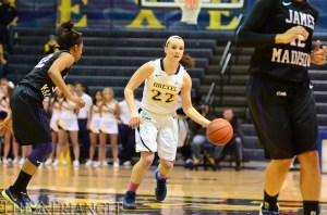 Point guard Meghan Creighton finished with 10 points, six rebounds and three assists in Drexel's 69-58 loss to James Madison University Feb. 16 at the DAC. The sophomore has started all 27 games for the Dragons so far this season.