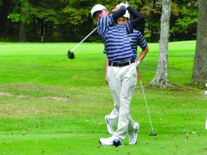 Sophomore golfer Chris Crawford (front) watches his shot's trajectory at the Leo Keenan Invitational in September. Crawford won this past week's Lafayette Invitational, his second tournament win in as many weeks. (Drexel University Golf)
