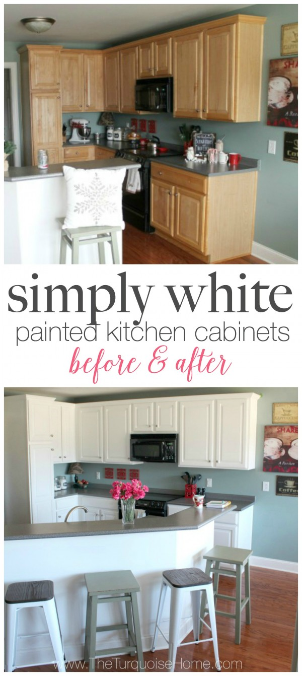 simply white painted kitchen cabinets kitchen cabinets white DIY Painted Kitchen Cabinets with Benjamin Moore Simply White