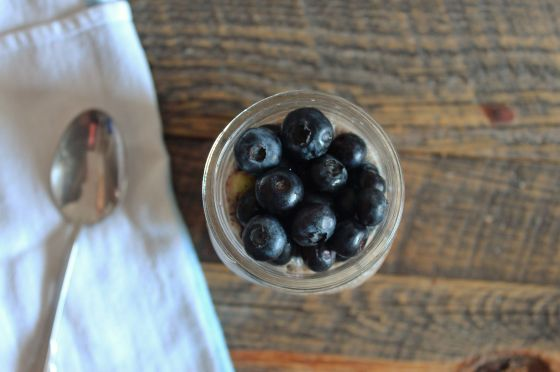 blueberries atop chia pudding