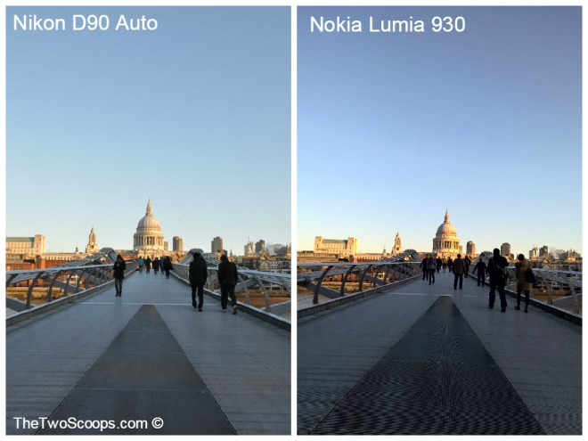London Millennium Bridge DSLR and Nokia Lumia comparison