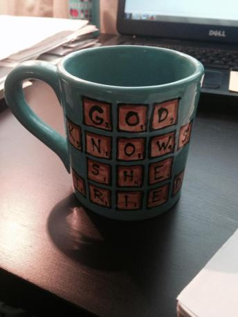 """I made this for my mother who, in addition to loving the phrase, """"God knows I tried,"""" also loves Scrabble."""