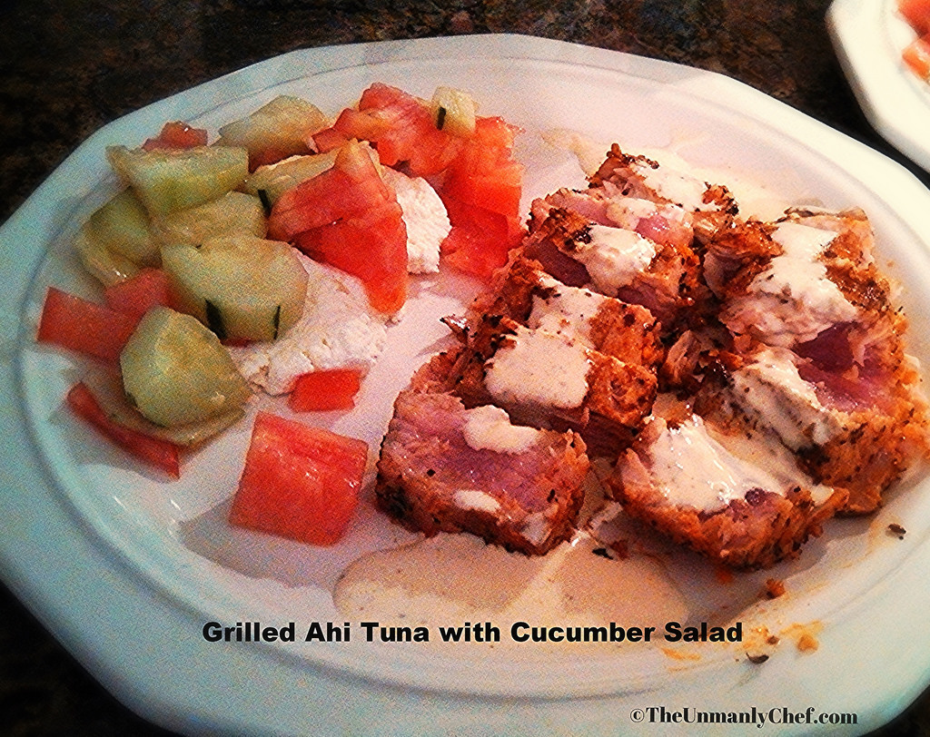 Grilled Tuna with Cucumber & Tomato Salad