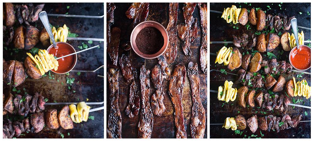 Coffee, Skirt Steak Breakfast Skewers & Coffee Glazed  Bacon w/ Community Coffee