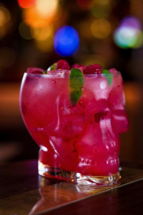 Disco Skull | Simmons, London | Serves 4 | £35 Malibu, apple juice, cold brew Earl Grey tea, fresh lime juice, raspberries, lime wedges, sugar syrup Photo credit: Simmons