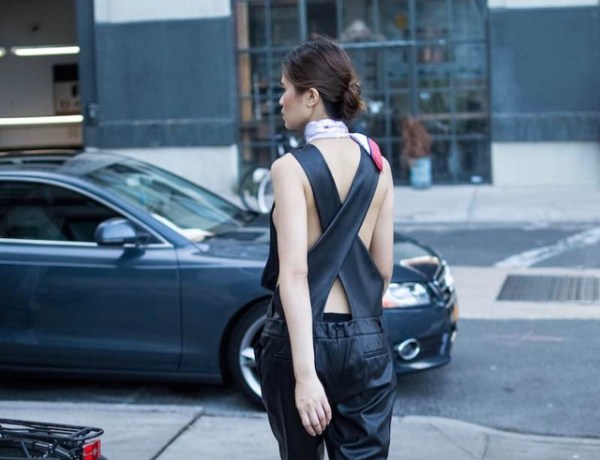 Backless Leather Jumpsuit for a Sporty Day