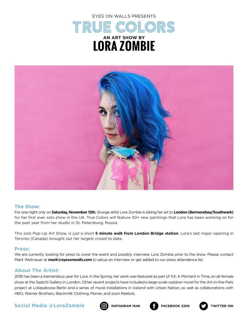 True Colors by Lora Zombie. Lora Zombie True Colours exhibition in London, Photo courtesy of Lora Zombie