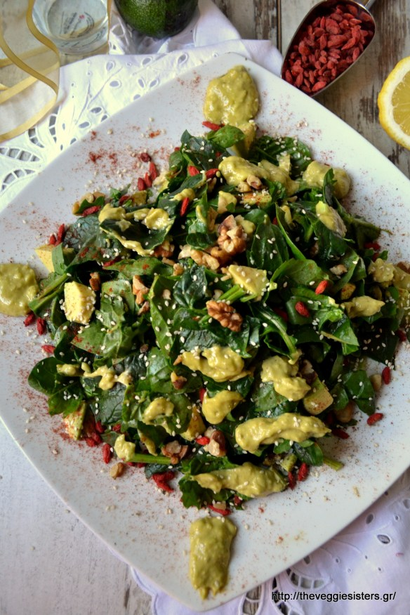 Πεντανόστιμη καταπράσινη σαλάτα με αβοκάντο κ goji berries – Delicious green avocado goji berries salad