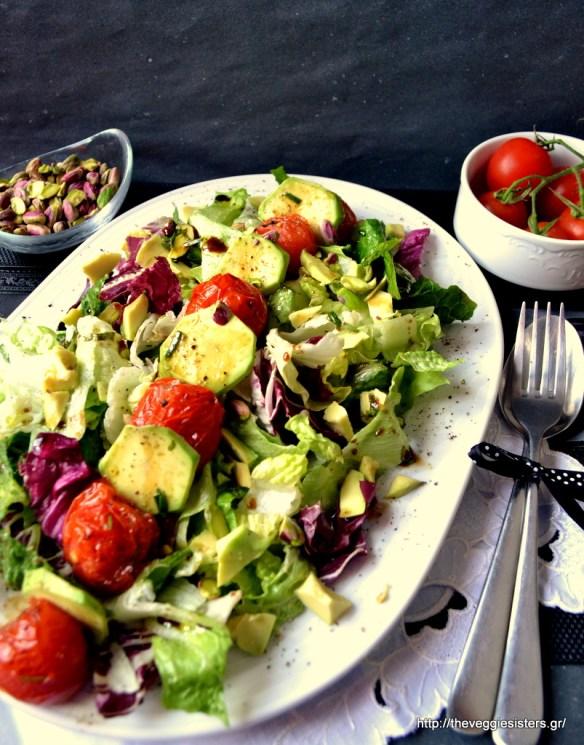 Πράσινη σαλάτα με αβοκάντο κ ψητά ντοματίνια – Green avocado salad with roasted cherry tomatoes