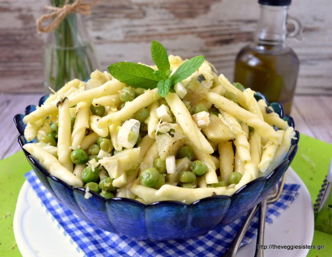 Λεμονάτα ζυμαρικά με αρακά κ αγκινάρες – Peas artichoke lemony pasta