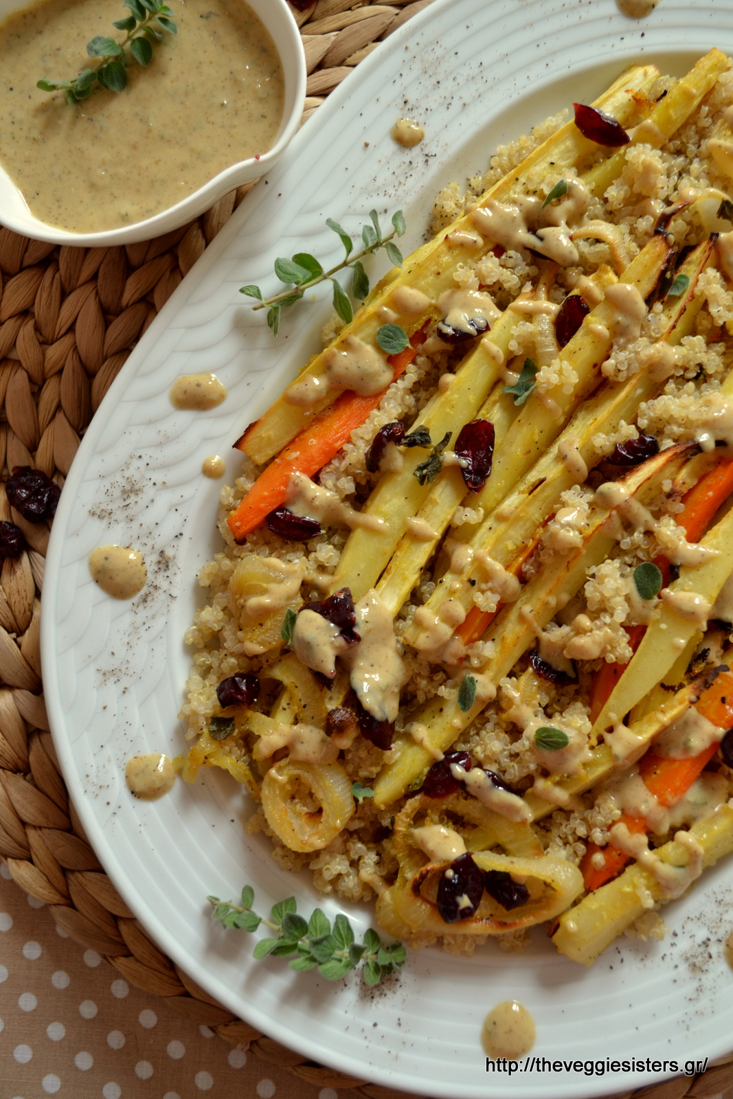 Roasted parsnip quinoa with tahini sauce