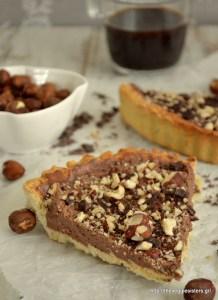 Νηστίσιμη σοκολατένια τάρτα φουντουκιού - Vegan chocolate hazelnut tart