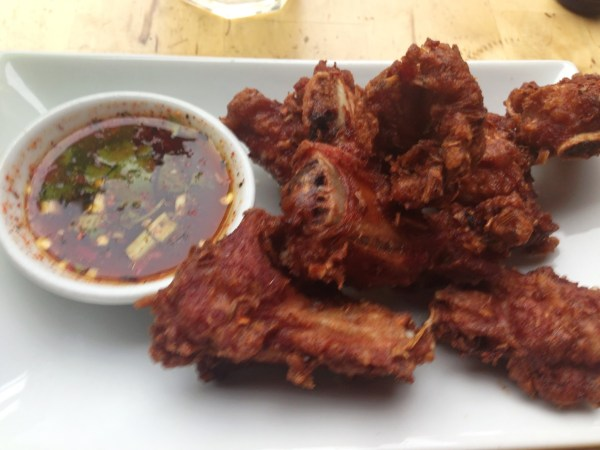 Deep fried pork spare ribs at Kaosarn