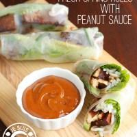 Marinated Tofu Fresh Spring Rolls with Peanut Sauce