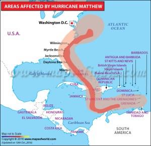 Path of Hurricane Matthew in October 2016.