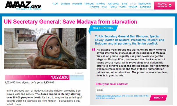 Avaaz petition madaya