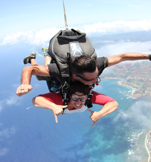Skydiving over Kaena Point