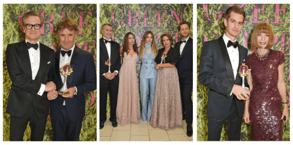 In the middle,  Orange Fiber and Newlife awarded Technology and Innovation, presented by Mira Duma and Derek Blasberg