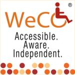 WeCo's logo in a square format with Braille motif and tagline: accessible, aware, independent.