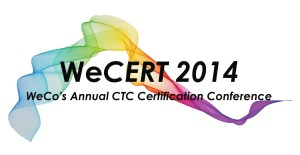 A swirl of color is the back drop for the words 'WeCERT 2014'.