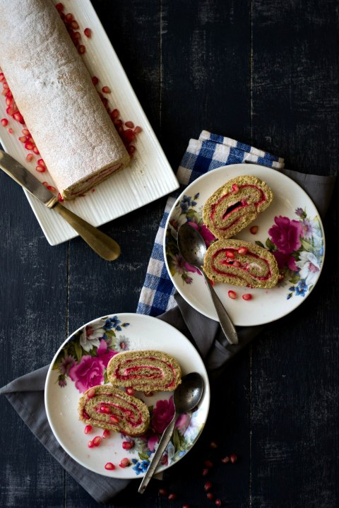 Pomegranate & Strawberry Roulade