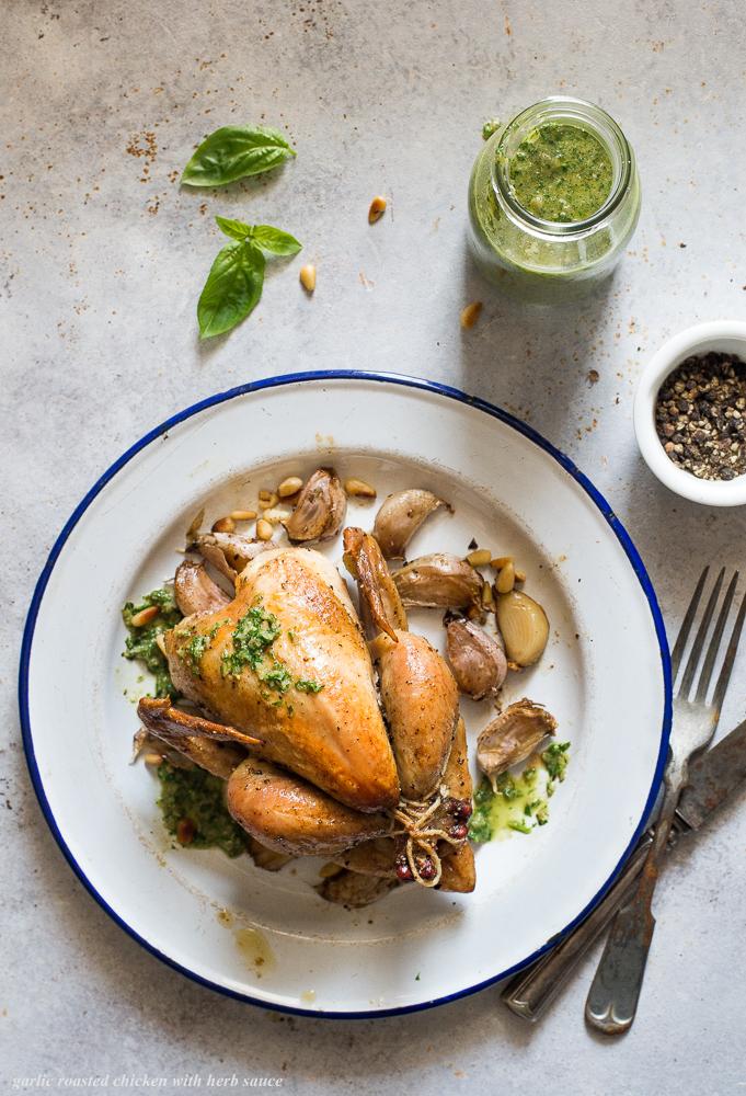 garlic roasted chicken with herb sauce