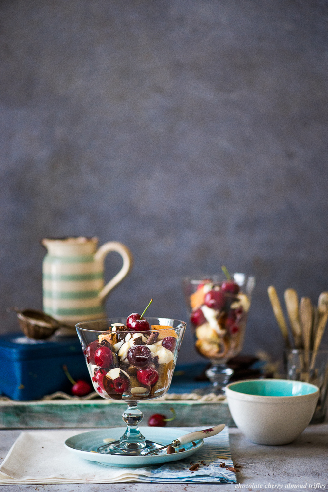 chocolate cherry almond trifles